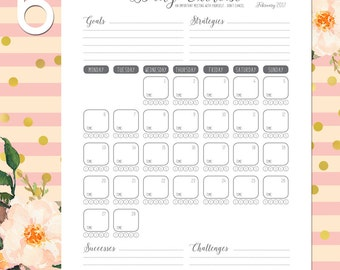 Fitness Planner, Health Planner, Monthly Exercise Plan, Daily Workout Log, Fitness Goals, Wellness, Dated, 2017, Healthy Habits, Printable