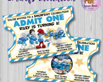 Smurfs Invitation, Smurfs Invite, Smurfs Party, Smurfs Birthday, Smurf-Day, Smurfday, Smurfs the Lost Village Movie, Movie Ticket Invitation