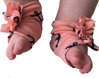 Baby Sandals - Baby Barefoot Sandals - Baby Crib Shoes - Baby soft shoes - Baby Shower - Baby Girl Barefoot Shoes - Anchor Shoes -