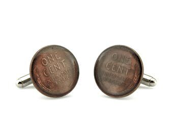 Wheat Penny Cuff Links  - Lincoln Penny Cufflinks - One Cent Cufflinks - US Coin Cufflinks - Money Cufflinks - Numismatic Cufflinks