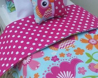 "18"" Doll Bedding Set, Owl Doll Bedding, Made to Fit 18"" Dolls Such as The American Girl Dolls"