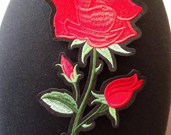 Red flower iron on patch applique