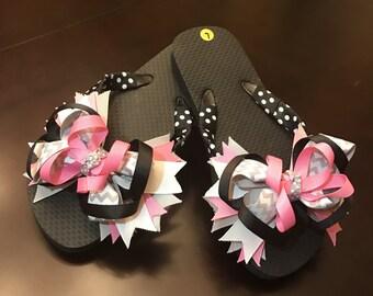 Pink Black and White Chevron Bow Flip Flops