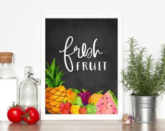 Fresh Fruit Print-Fruit Print-Kitchen Print-Fruit Decor-Chalkboard Kitchen Print-Kitchen Decor-Pineapple-Instant Download-Wall Art Decor