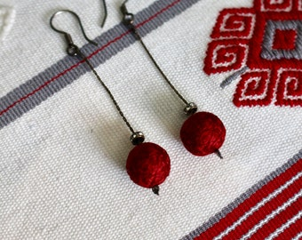 Beautiful red silk earrings