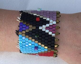 Woven beaded bracelet cube 4 mm Miyuki