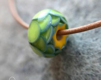 lampwork glass bead, simple delicate necklace