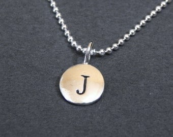 Sterling Silver Letter J Pendant Necklace Disc Charm Necklace