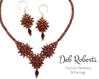 Cosmos Necklace and Earrings beaded pattern tutorial by Deb Roberti