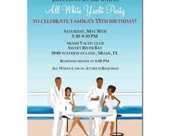 African American All White Yacht Party Invitation | African American Birthday Party Invitation | African American Party Invitation