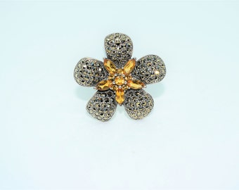 Vintage Inspired Sterling Silver and Citrine with Marcasite Flower Pendant