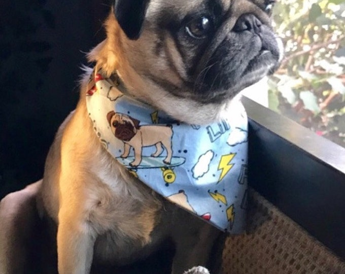 Featured listing image: Pug Life CUSTOM MADE Premium Dog Bandana