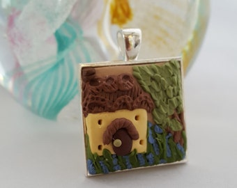 Beautiful Applique Style Cameo Pendant with Polymer Clay. Thatch Cottage Design
