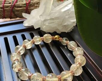 10mm Natural AAA Citrine Yoga Mala Beaded Bracelet. Stretch Bracelet. Healing Natural Gemstone Bracelet. Wrist mala.