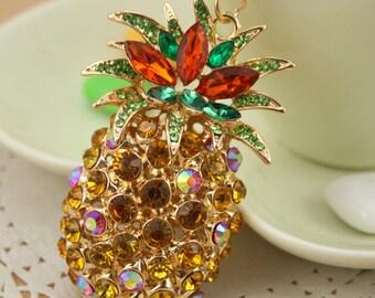 Large Pineapple Fruit Keyring Diamante Rhinestone Charm Ladies Bling Handbag