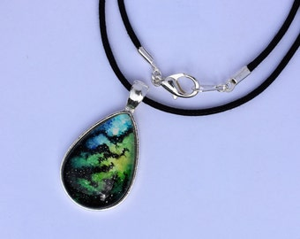 Blue and Green Galaxy Pendant- One of A Kind