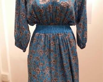 Diane Freis Dress, Vintage Dress, Designer Dress, 1980s, Georgette Dress
