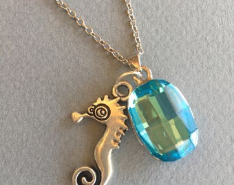 Seahorse Crystal Necklace - Seahorse Charm - Blue Crystal - Nautical Jewelry -