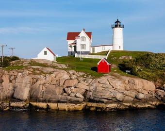 Lighthouse Photo - Nubble Lighthouse - Maine Photograph - Nubble Light - Canvas Wall Art - Nautical Decor - Ocean Seascape - York Beach