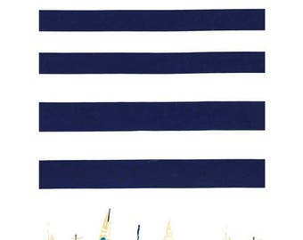 Regatta Border fabric - Michael Miller - Nautical border fabric - navy white stripe cotton - sailing fabric - boats fabric - seaside fabric