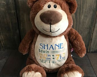 Soft Bear - Personalized Embroidered Cubbies, Brown, Stuffed Animal, Embroidery, Custom
