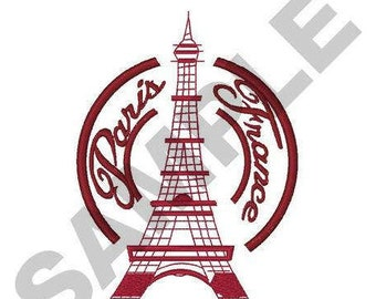 Paris France Eiffel Tower - Machine Embroidery Design