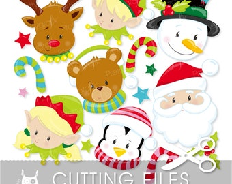 Christmas faces cutting files, svg, dxf, pdf, eps included - cutting files for cricut and cameo - Cutting Files SVG - CT746