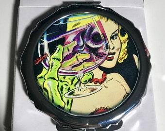Zombie Undead Dracula Retro Old School Tattoo Sailor Beware Pinup Horror Compact Mirror Handmade