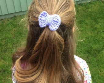 Bow Bobble, handmade crochet bow hairband, vegan friendly bobble, pink bow bobble, purple bow bobble, school bobbles