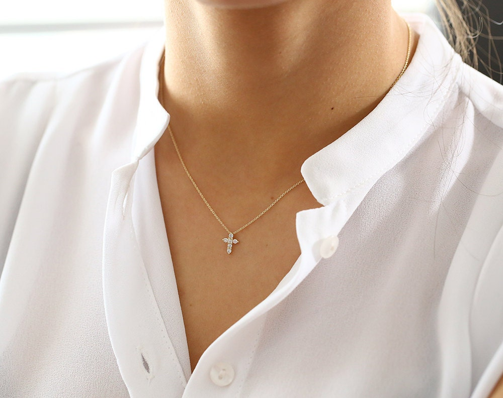 Tiny Diamond Cross Necklace/  14k gold diamond cross necklace/ Diamond Cross Pendant/ Mini White Diamond Cross Necklace Prong Setting .15ctw