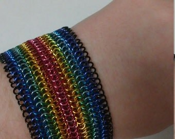 Rainbow Chainmaille Bracelet