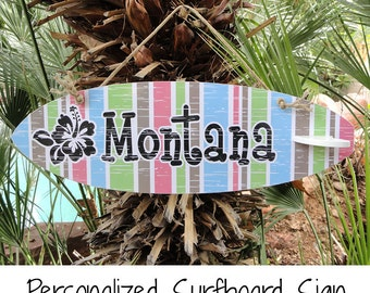 Personalized Surfboard Sign with Hibiscus & Multi Stripe Design