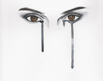 Kendall Jenner pen and watercolour painting of her eyes
