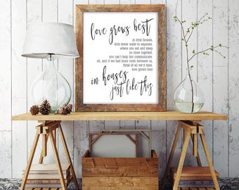 Love Grows Best In Little Houses   Printable Farmhouse Decor   Little House Quote   New Home Gift Print   Entryway Art Print