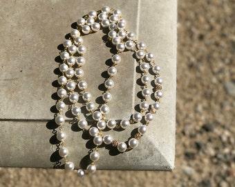 Pearl 3 strand necklace with Swarovski crystal