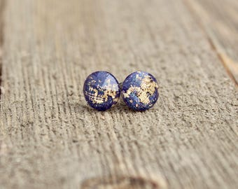 Dark Purple Gold Leaf Earrings