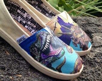 Custom painted Dinosaur Toms