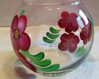 Small rose bowl with hand painted burgundy flowers.