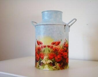 milk jug decorated-decoupage