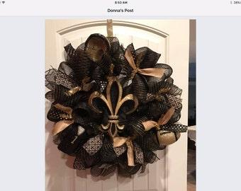 New Orleans saints deco mesh wreath
