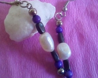 craftsmen, earrings earrings style boho, hippie, purple, earrings with natural stones very current and any occasion