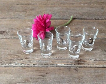 5 Shot Glasses with Sterling Silver applique for engraving / Liquor glasses
