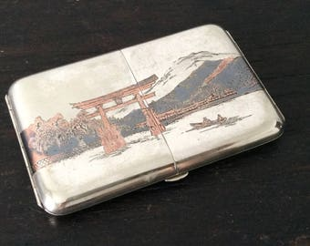 Antique Japanese Sterling Silver Cigarette Case / Niello / Japan /