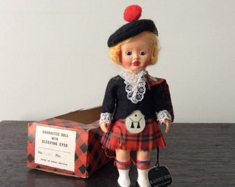 Vintage British Character Doll with Sleeping Eyes / Tartan / Scottish / Made in England / Boxed