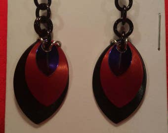 Black/Red/Purple 3 Graduated Scale Earrings