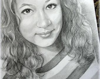 Custom portrait, pencil portrait, custom drawing, pencil drawing, pencil sketch, portrait from photo, graphite portrait, graphite drawing