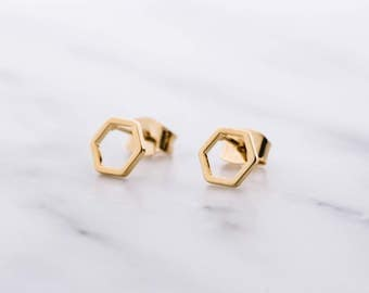 Gold Hexagon Earrings / Hexagon Studs / Geometric Studs / Dainty Hexagon Earrings