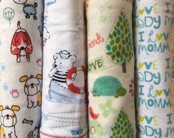 Handmade Flannel Baby Boy Receiving Blankets, Car Seat Blanket- 100% Cotton, 4 Pack