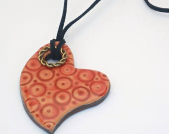 Necklace heart, red Collar, necklace boho chic, hippie necklace, cheerful, colorful necklace