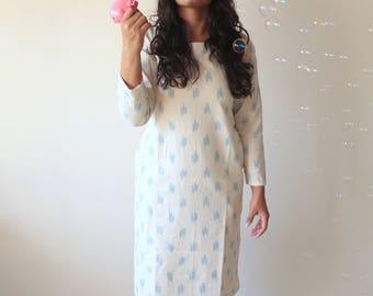 Miss Nice, Ivory and Blue Ikat Dress
